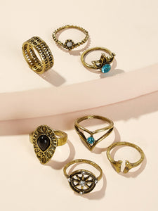 7pcs Gold Rhinestone Detail Rings