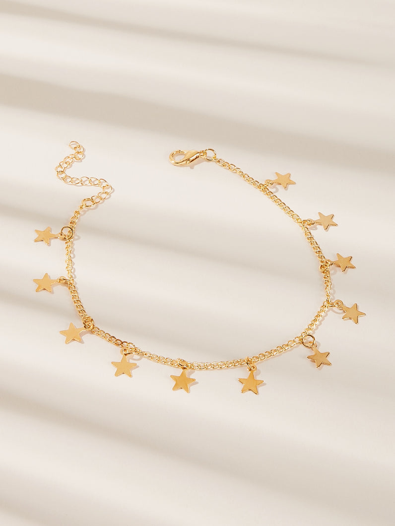 1pc Golden Star Charm Chain Anklet
