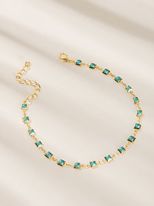 2pcs Multicolored Rhinestone Star Charm Chain Anklet Set