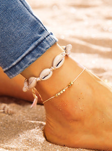2pcs Golden And White Shell Charm Anklet