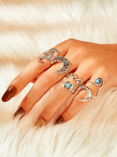 Load image into Gallery viewer, Silver Moon & Seahorse Decor 6pcs Ring