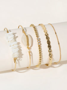 Golden 5pcs Shell & Ball Metal Link Chain Bracelet