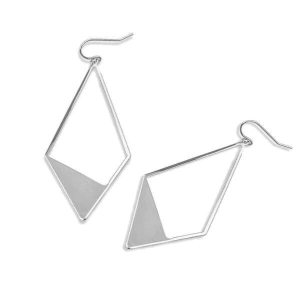 Charlee Silver Colored Triangle Dangle Earrings