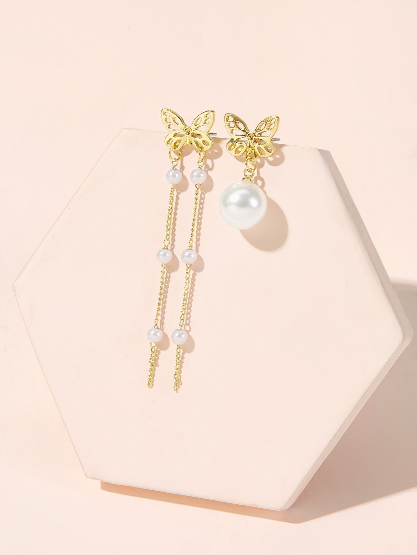 1pair Golden Butterfly Mismatched Pearl Tassel Dangle Earrings