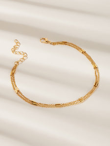 Golden Double Layered Bar Detail Chain Anklet 1pc