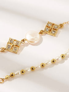 Golden Rhinestone With Faux Pearl Beaded, Link 2pcs Bracelet Set