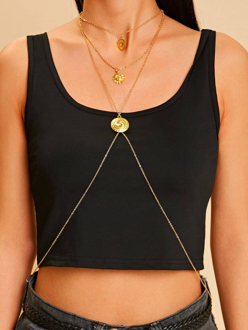 Multi Layered Golden Body Chain With Eye & Sun Charm Pendent 1pc