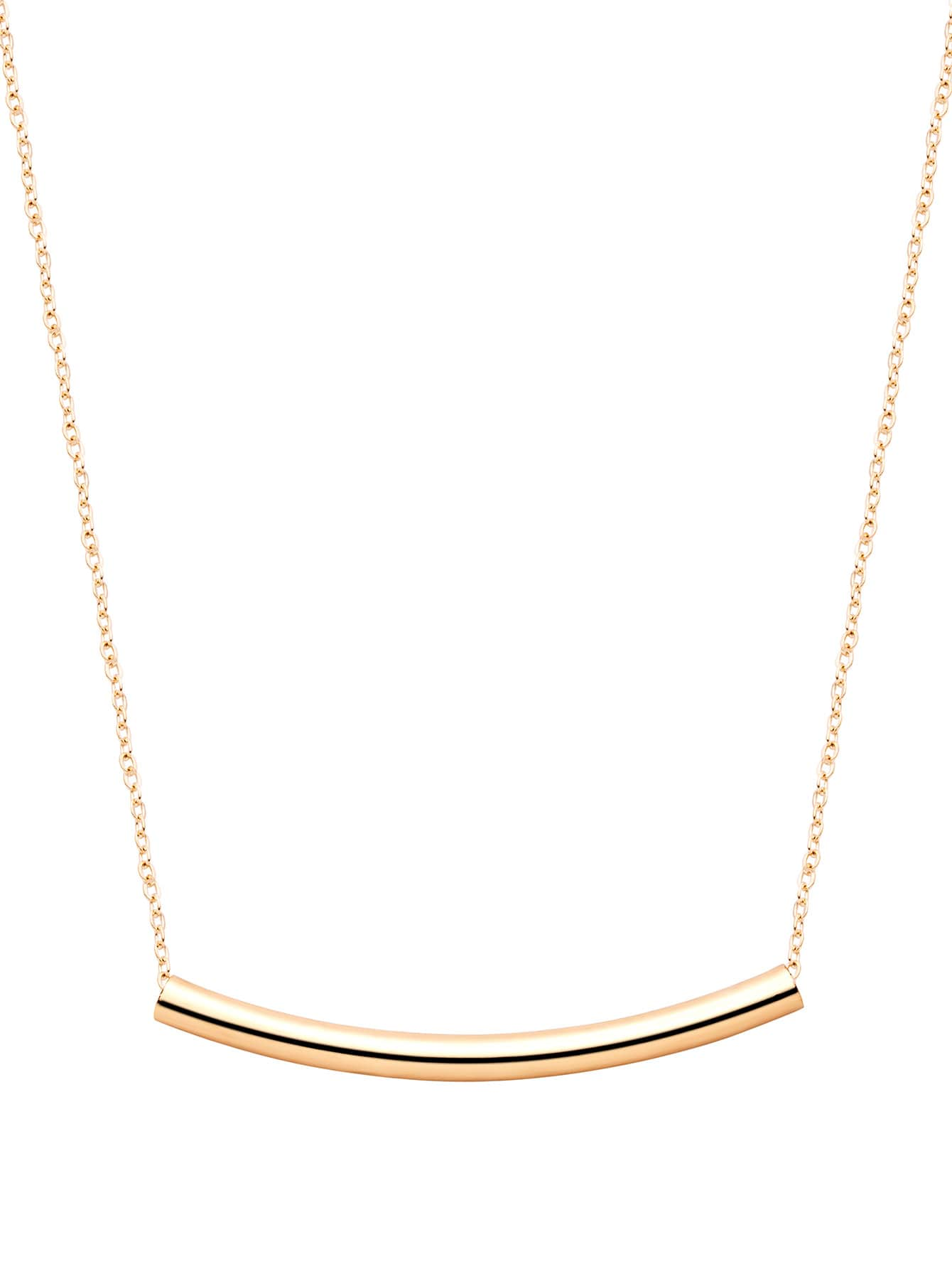 Curved Bar Gold Plated Pendant Necklace