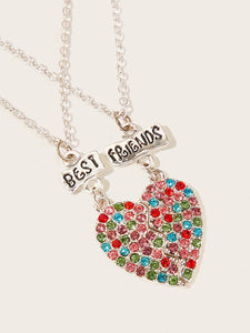 Multicolored Half Heart Rhinestone Engraved 2pack Pendant Necklace