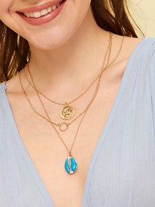 Shell & Ring Pendent Layered Chain Pendant Necklace 1pc