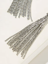 Load image into Gallery viewer, Grey 1pair Tassel Decor Metal Drop Dangle Earrings