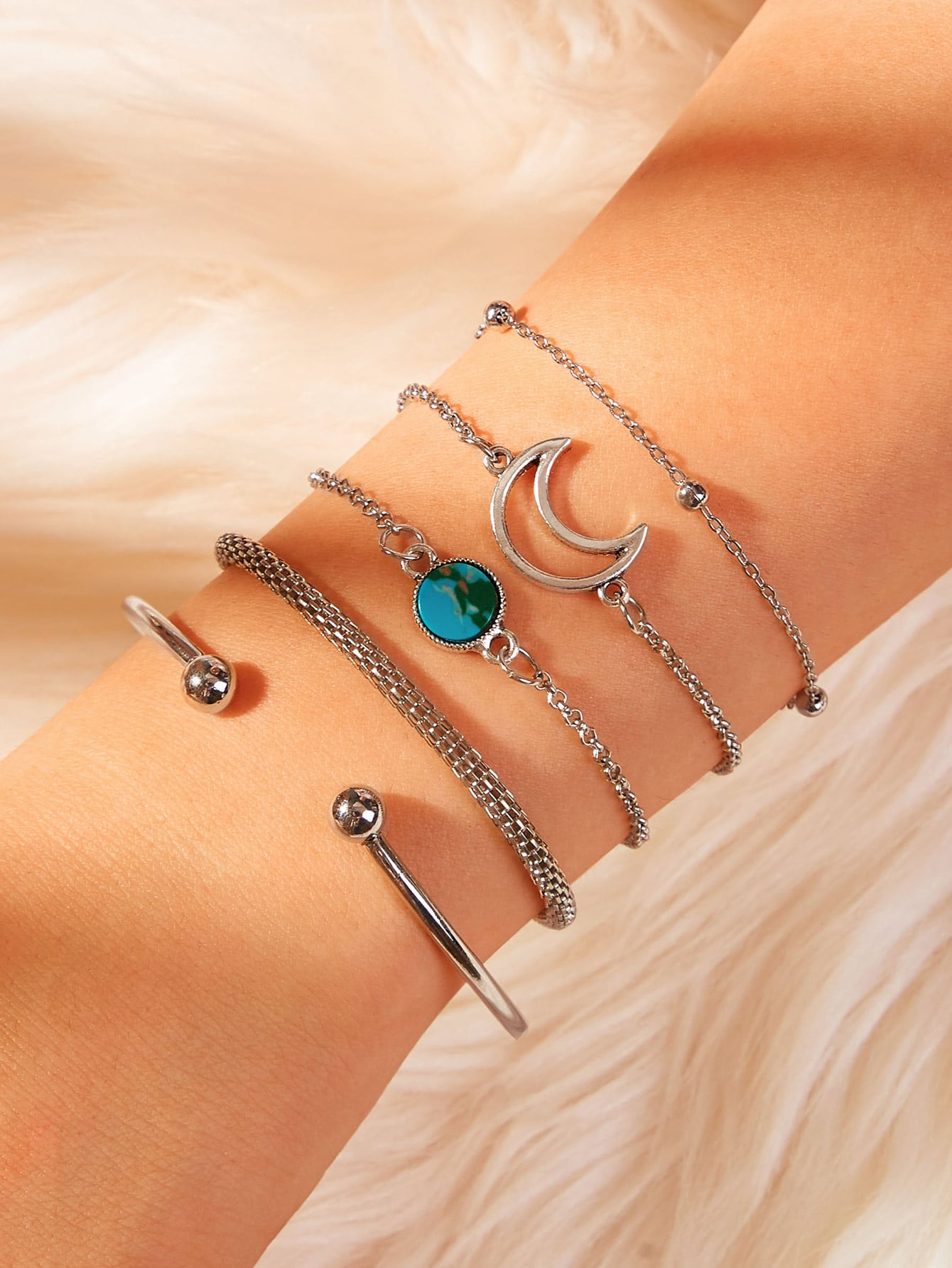 Grey 5pcs Moon Detail Silver Metal Cuff & Link Bracelet Set