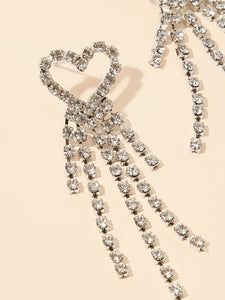 Grey Heart Shaped Tassel Rhinestone Drop 1 Pair Dangle Earrings