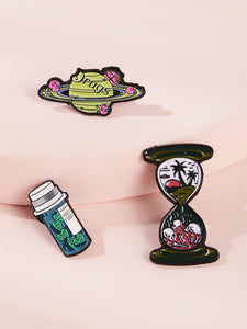 Multicolor 3pcs Planet & Drink Design Brooches