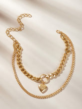 Load image into Gallery viewer, Golden Thick Double Layered Heart Pendant Chain Necklace 1pc