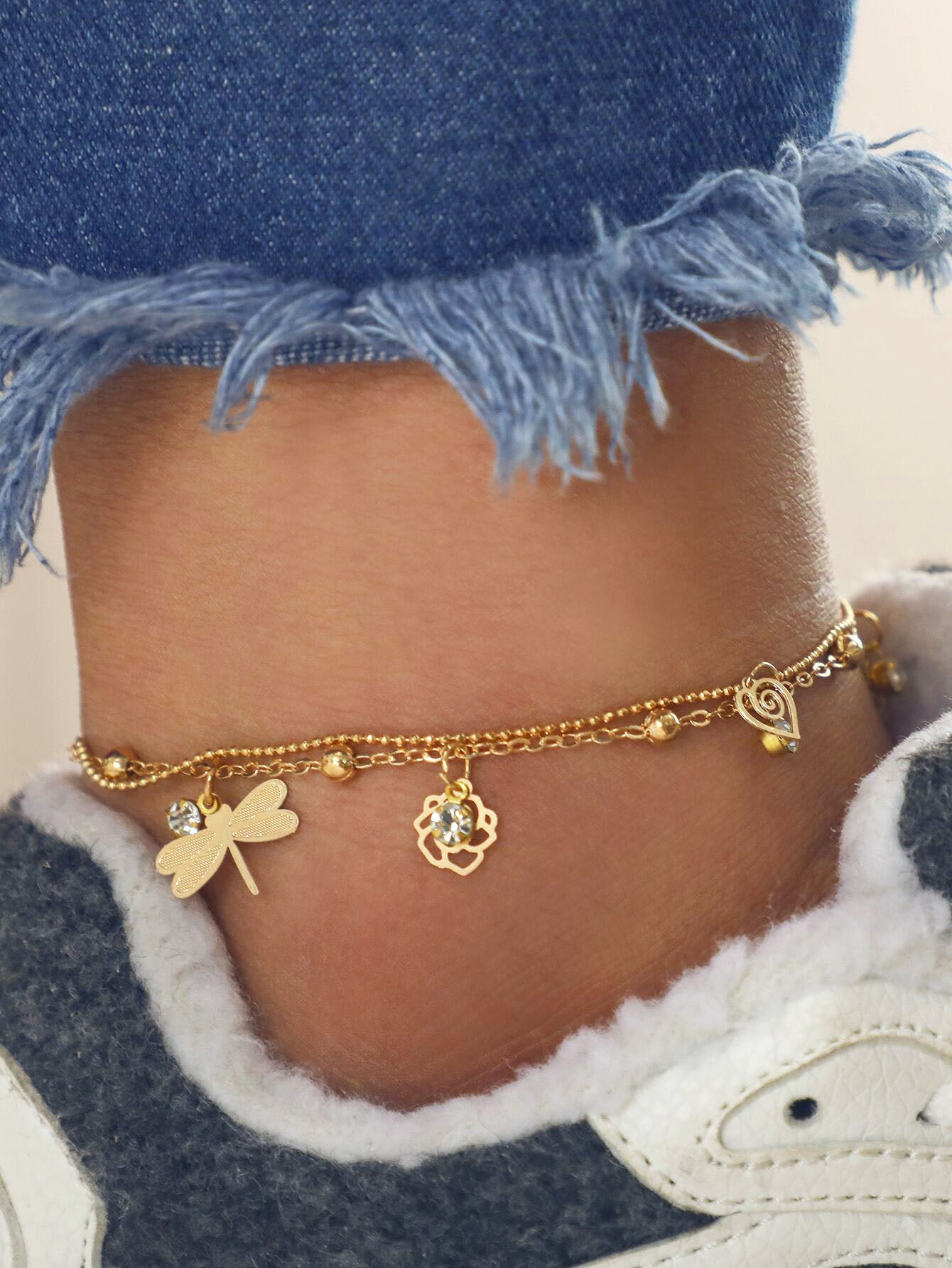 Dragonfly & Flower Charm Golden Layered Chain Anklet