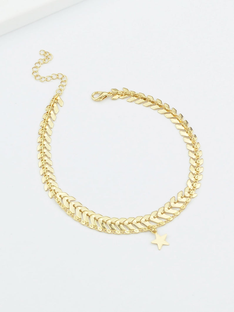 Thick Star Shape Gold Multi Layer Anklet