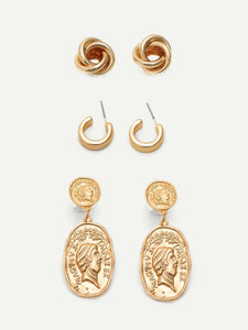 3 Pairs Golden Twist & Coin Engraved Dangle, Hoop, Stud Earrings