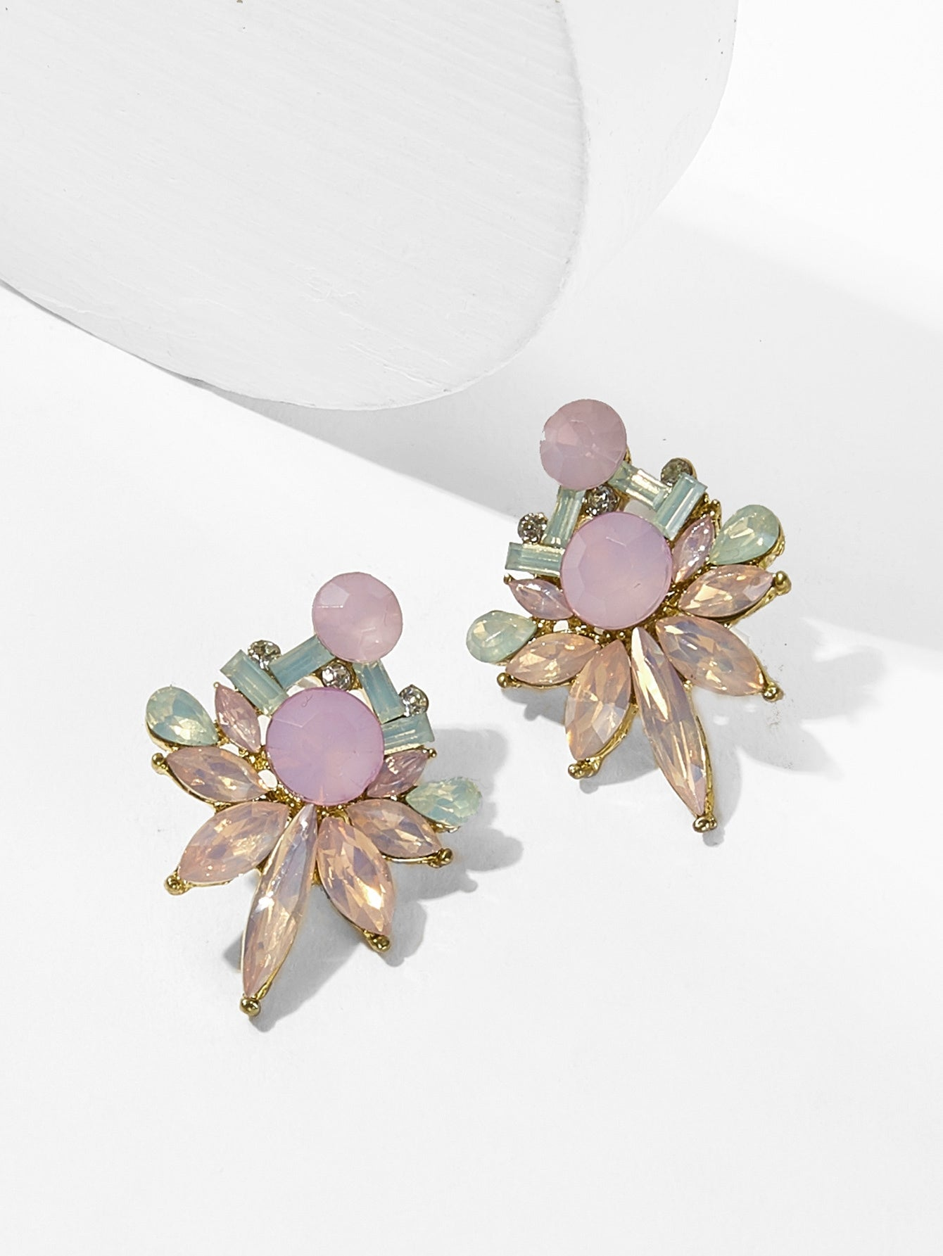 Multicolor Flower Shaped 1pair Rhinestone Gold Stud Earrings