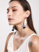 Load image into Gallery viewer, Block Layered Multicolored Tassel Drop Dangle Earrings