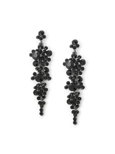 Black, Grey 1pair Rhinestone Metal Design Drop Dangle Earrings