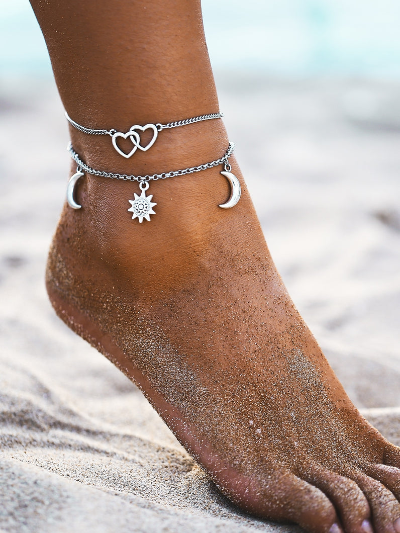 Silver Moon & Sun Charm 2pcs Chain Anklet