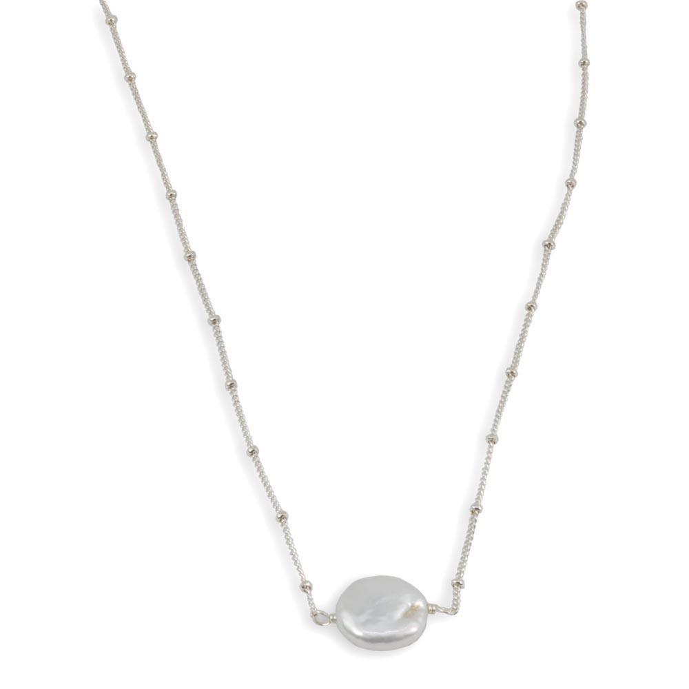 Sterling Silver Chain With Coin Pearl Necklace