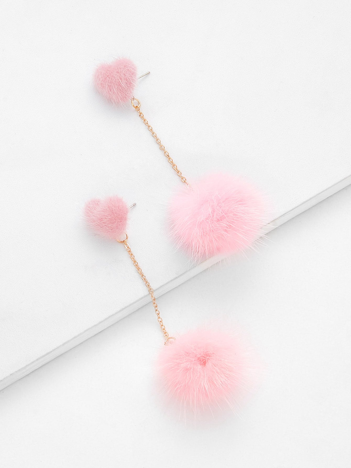 Pink Pom Pom With Heart Top Chain Dangle Earrings 1 Pair
