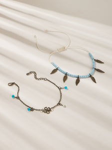 Multicolor 2pcs Leaf Charm Beaded Boho Anklet