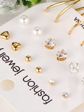 Load image into Gallery viewer, Golden 9pairs Hoop & Rhinestone Pearls Stud Earring