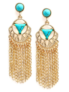 Golden Inlay Chain With Turquoise Tassel Earrings