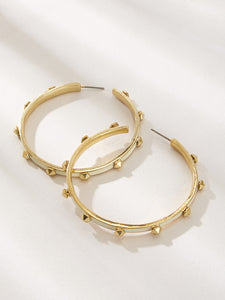 Golden 1Pair Studded Decor Metal  Cut Hoop Earrings