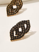 Load image into Gallery viewer, Black Double Lip Shaped Rhinestone Engraved 1pair Stud Earrings