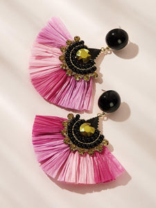 Multicolored Fan Tassel With Gemstone 1 Pair Dangle Earrings