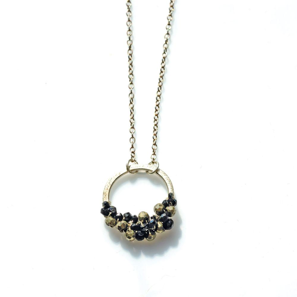 Rock-n-Roll Halo With Faceted Pyrite and Spinel Sterling Silver Necklace