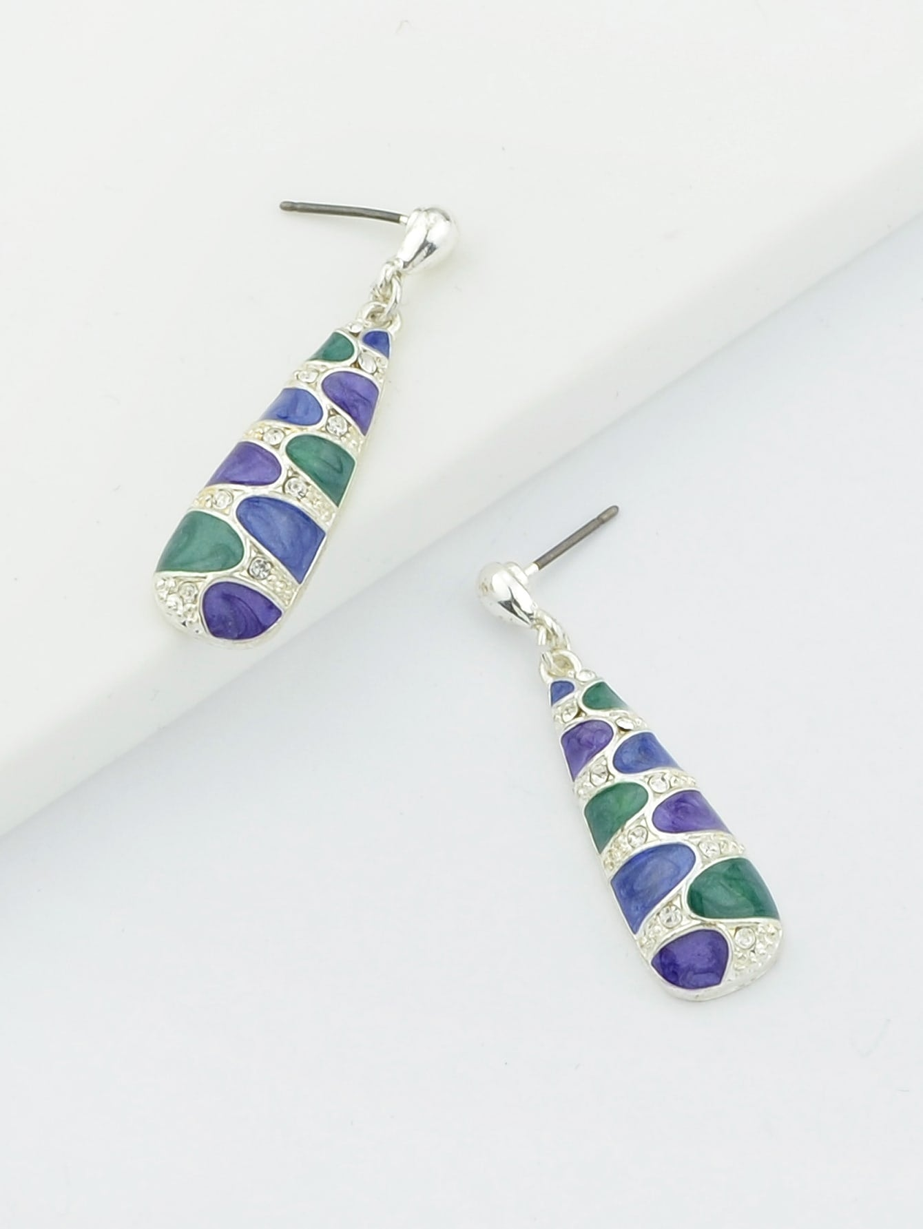 Colorful Enamel Silver Dangle Earrings From India