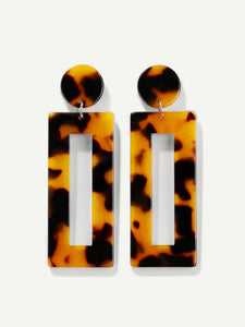 Multicolor 1pair Tortoiseshell Pattern Metal  Open Rectangle Drop Dangle Earrings