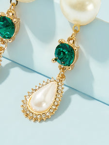 White And Green Faux Pearl Engraved Water Drop 1 Pair Dangle Earrings