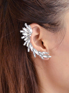 Rhinestone Silver Plated 1pc Ear Crawler Stud