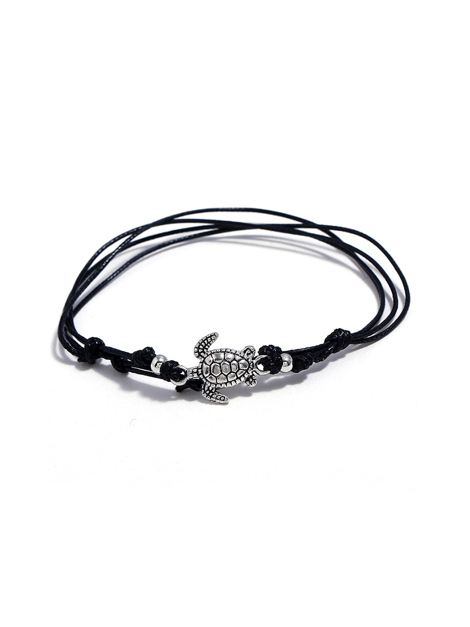 Black Tortoise Decorated Layered Anklet