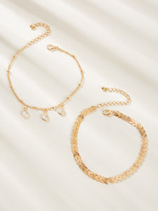 Golden Rhinestone Charm With Pearls 2pcs Chain Anklet