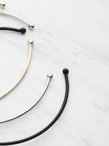 Silver Gold And Black Cuff Bracelet Set