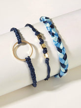 Load image into Gallery viewer, Multicolored Braided String Ring Decor 3pcs Bracelet
