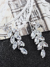 Load image into Gallery viewer, Grey 1pair Rhinestone Leaf Shaped Metal Drop Dangle Earrings