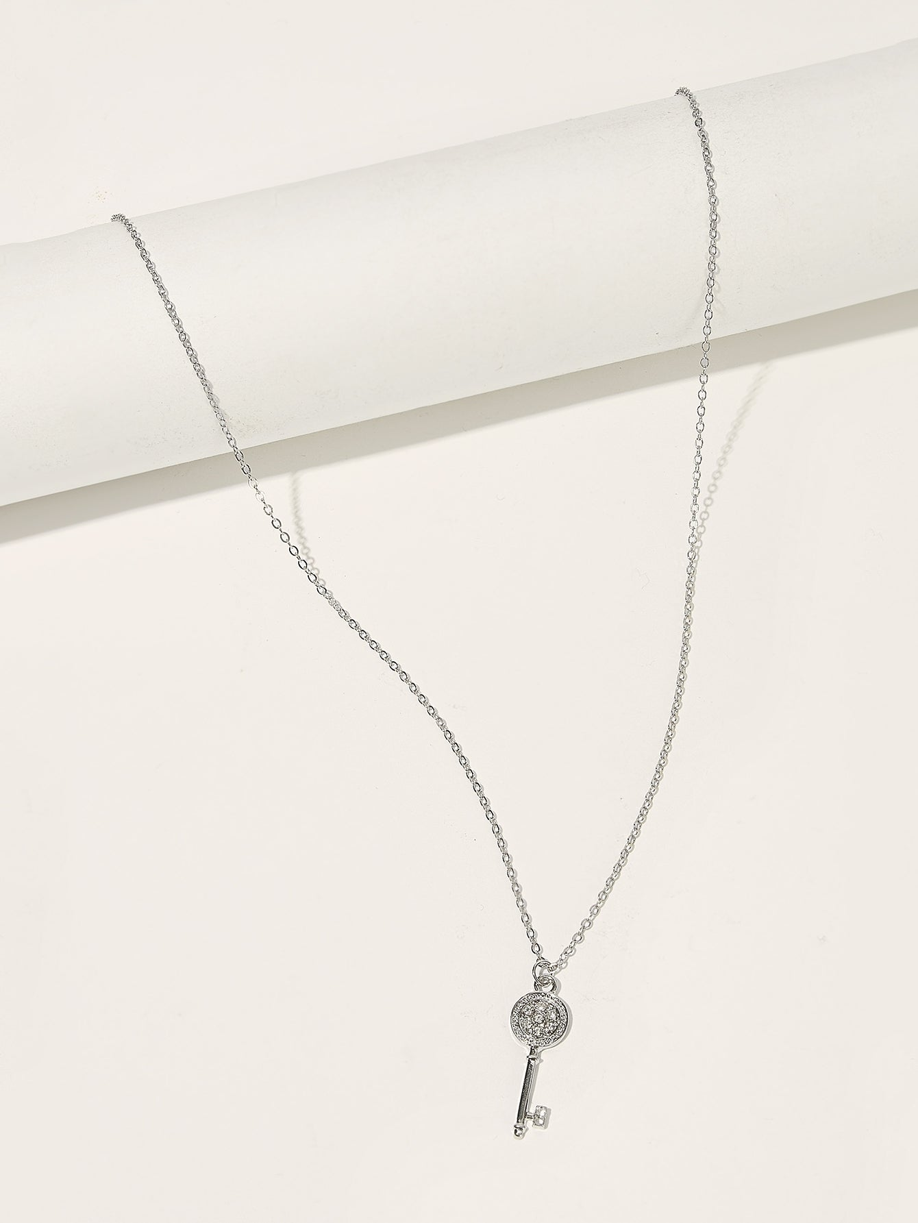 Grey Key Pendant With Gemstone 1pc Silver Chain Necklace