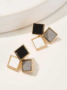 Multicolored Square Color-Block 1 Pair Stud Earrings