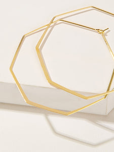 Golden Octagon Shaped 1 Pair Hoop Earrings