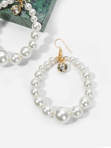 White Beaded Hoop With Faux Pearl Drop Dangle 1 Pair Earrings