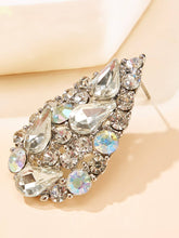 Load image into Gallery viewer, 1 Pair Grey Rhinestone Water-drop Shaped Stud Earrings
