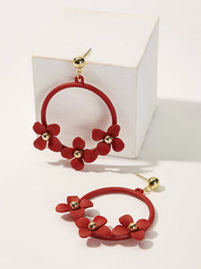 Red Flower Shaped 1pair Ring Gold Drop Dangle Earrings